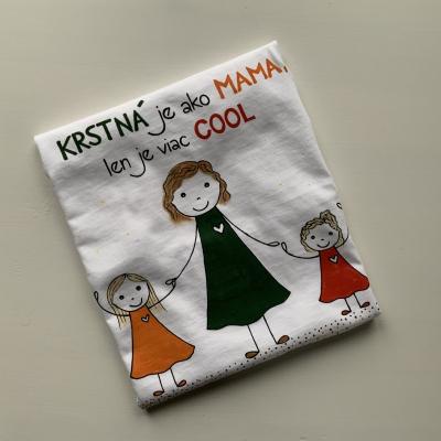 Originálne maľované tričko pre krstnú s 3 pestrofarebnými postavičkami a nápisom na želanie