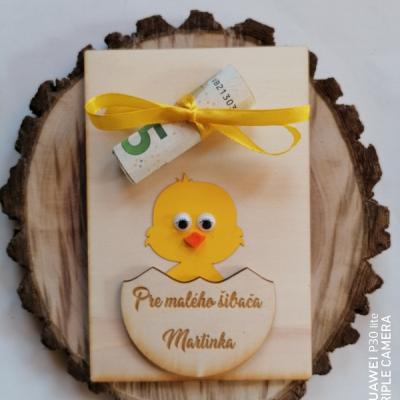 drevené pohľadnice na finančny dar pre šibačov s menom