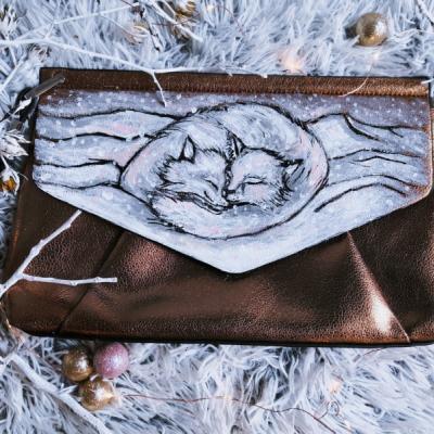 Maľovaná kabelka - zimné líšky