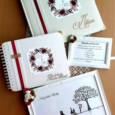 Set  Svadobný fotoalbum + Svadobná kniha hostí +informáčný rámik ku knihe hostí ,Príbeh lásky v ráme A4