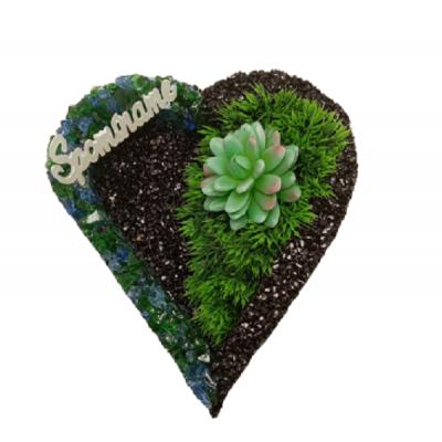 Kamienkový podstavec srdce čierny s modrozelenou sklenenou drvinou