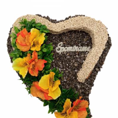 Kamienkové srdce s obrubou so sirôtkami, 30x30 cm