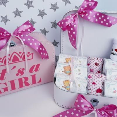 Bimbi plienkový kufrík, plienková torta  Sun Mini Girl ružová