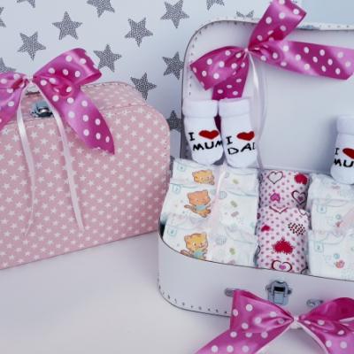 Bimbi plienkový kufrík, plienková torta Twins Sun Mini Hviezdička ružová