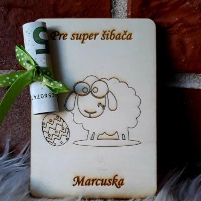 Veľkonočná pohladnica na peniaze - ovca