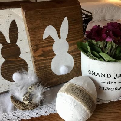 Veľkonočné drevené obrázky so zajačikom