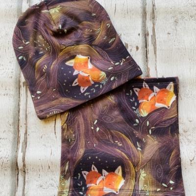 Set čiapka a nákrčník  Líšky v lese