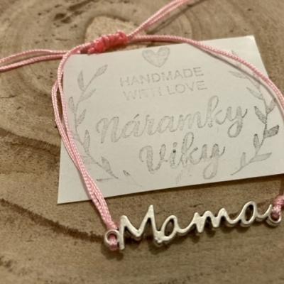 Šnúrkový náramok MAMA- bledo ružový