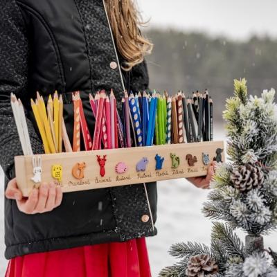 Personalizovaný stojanik na pastelky  - lesné zvierátká