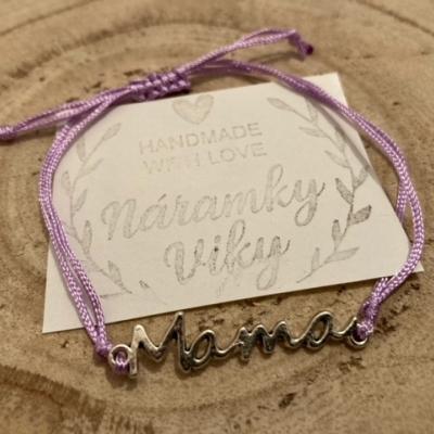 Šnúrkový náramok MAMA- fialový
