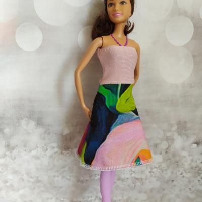 Dvojfarebné naťahovacie šaty pre Barbie