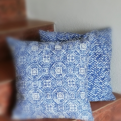 Obliečky na vankúšik- mozaika modro biela 40x40cm