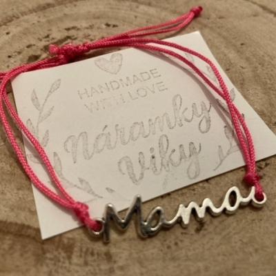 Šnúrkový náramok MAMA- krikľavo ružový