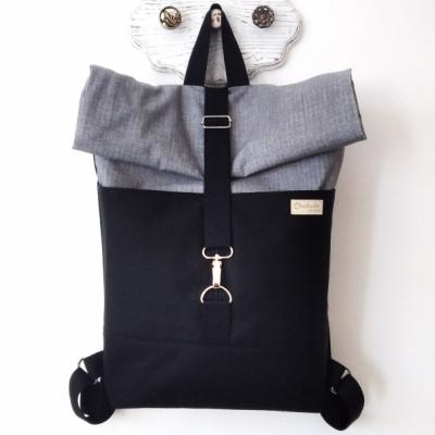 Rolltop batoh čierna/sivá