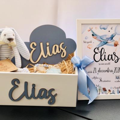 Drevený darčekový box - narodenie dieťaťa