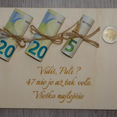 Drevené blahoželanie na peniažky