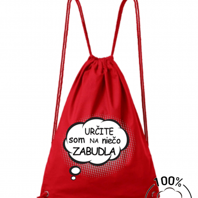 Bavlnený batoh: Určite som na niečo zabudla (čierny, žltý, červený)