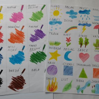 Komunikačné kartičky farby, tvary