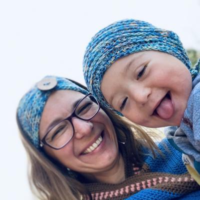 KolomDokola set Mama a syn/dcéra - čelenka a čiapka