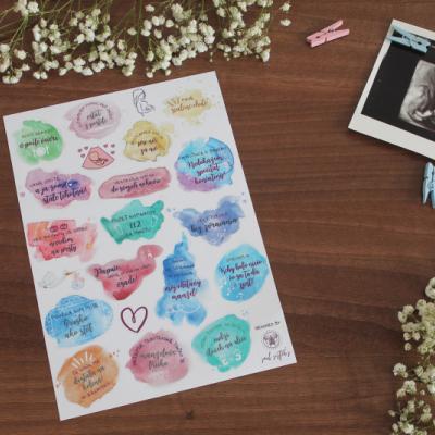 Nálepky k tehotenskému denníku