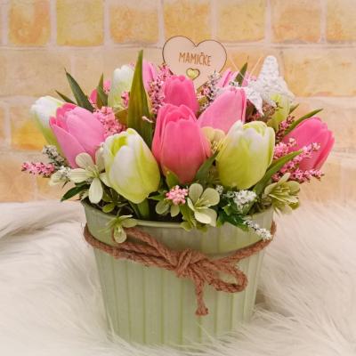 Tulipánový aranžmán ružovo-zelený Deň Matiek