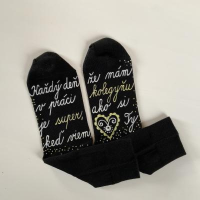 Maľované ponožky pre super kolegyňu ❤️ Čierne