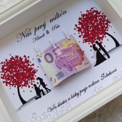 Svadobný dar Shadowbox-Náš prvý milión-Box na peniaze