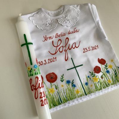 Ručne maľovaná KRSTná košieľka s kvetinkovou maľbou 15 + maľovaná svieca
