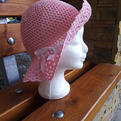 Dievčenský letný klobúčik - rúžový