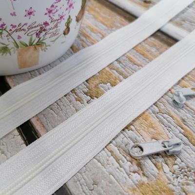 Špirálový zips - biely metráž 3 mm