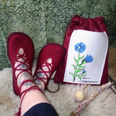 Barefoot háčkované topánky a batoh