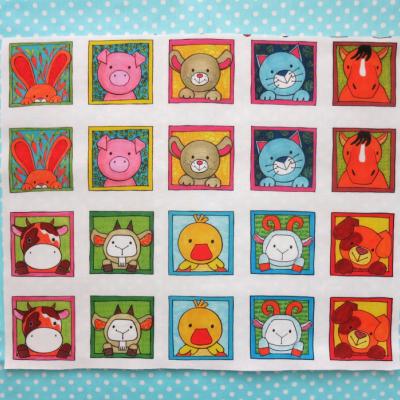 Bavlnený panel UŠI SI SÁM - Textilné pexeso (na výber sady - Zvieratká z lesa, z dvora, z exotiky)