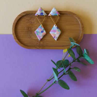 Trojuholnikové náušnice - farebné