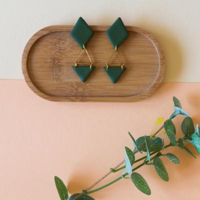 Trojuholnikové náušnice - zelené