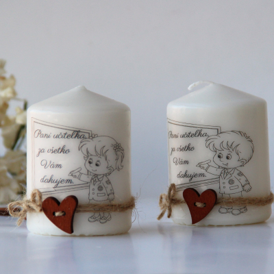 Duo dekoračných sviečok pre pani učiteľky