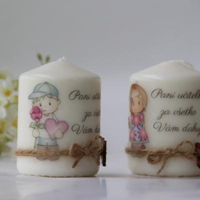 Duo dekoračných sviečok pre pani učiteľku