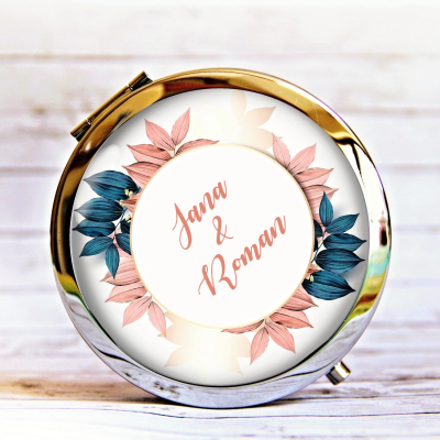 zrkadielko Listy, ružová, petrolejová - text na želanie