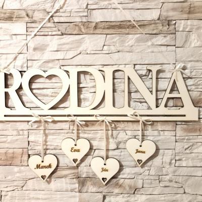 RODINA - dekorácia na stenu (na mieru 3-5 mien)