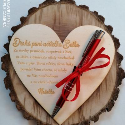 Srdce pre uciteľku/učiteľa do škôlky s gravírovanim perom