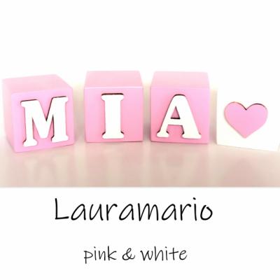 Drevené kocky biela & ružová
