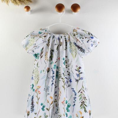 Lúčne kvety - detské šaty s riasením