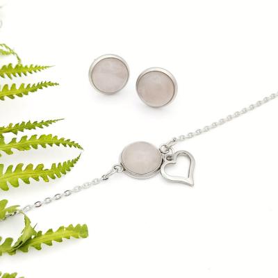 SET Z lásky _ minimalistické náušnice a náramok s ruženínom