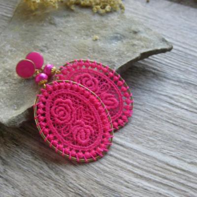 Elegantné čipkované ováliky (cyklamenovo ružové, č. 3229)