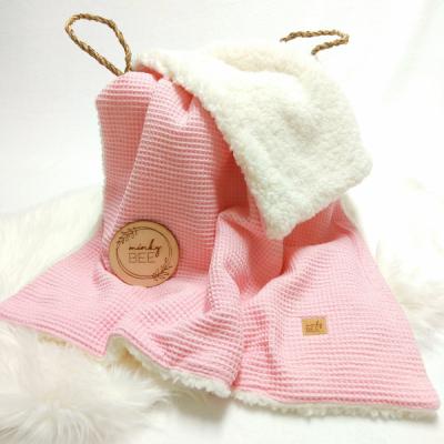 Zimná waffle deka ružová/smotanová sherpa