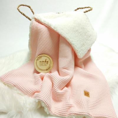 Zimná waffle deka svetlo ružová/smotanová sherpa