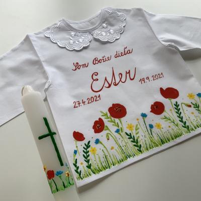 Ručne maľovaná KRSTná košieľka s kvetinkovou maľbou 16 + maľovaná svieca