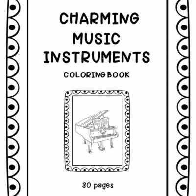 Charming Music Instruments - omaľovanky