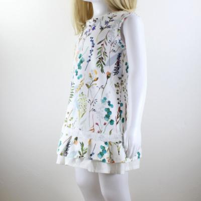 Lúčne kvety - detské šaty s volánom