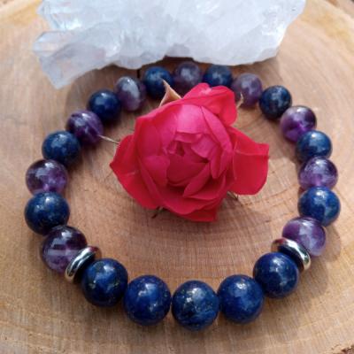 Náramok z lapisu lazuli a ametystu