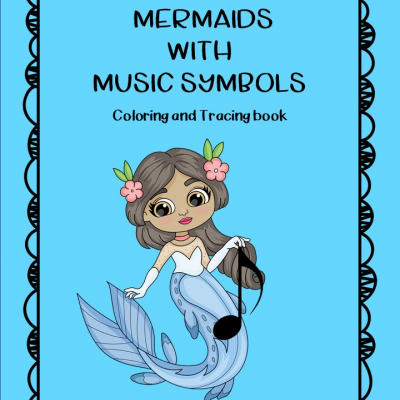 Mermaids With Music Symbols - coloring and tracing book